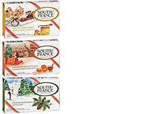 South Of France Natural Body Care Bar Soap 3 Fragrance Variety Bundle: (1) South Of France Vanilla Creme Caramel, (1) South Of France Simmering Orange Cloves, and (1) Frosted Evergreen, 3.5 Oz. Ea.