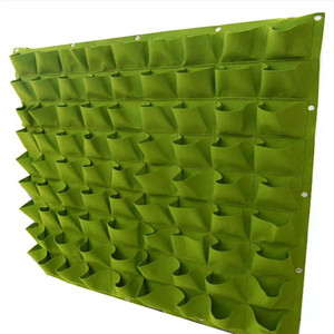 Customized Color Hanging Vertical Wall Garden Planter Bags Wall Mount Balcony Plant Grow Pots Container Bags Black 64 Pockets