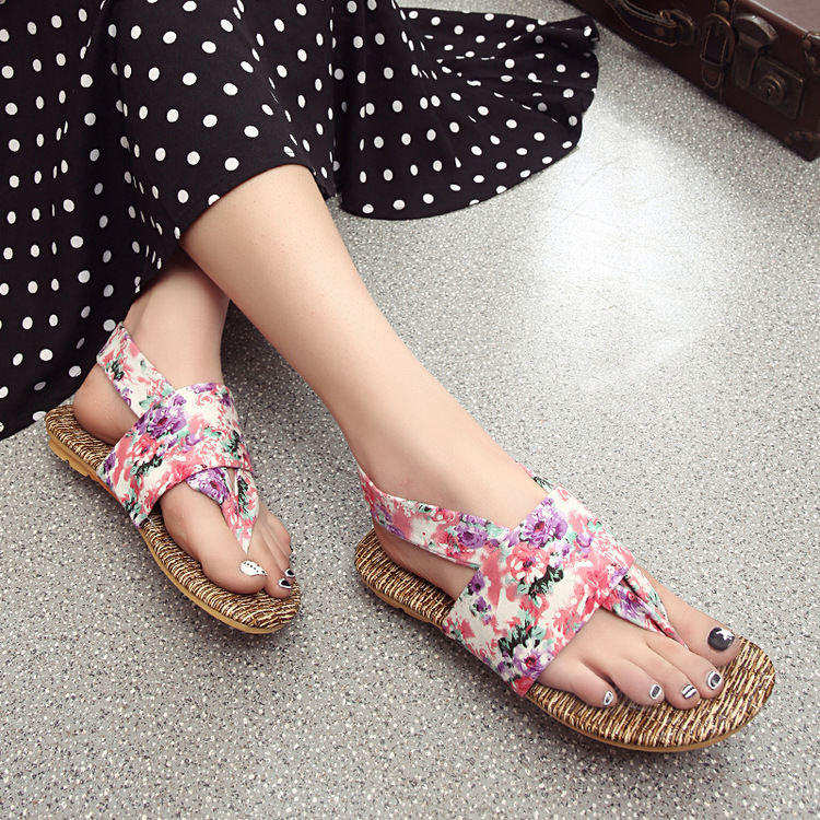 ZH0326L Fashion floral girls beach flip flops shoes women cloth sandals slippers