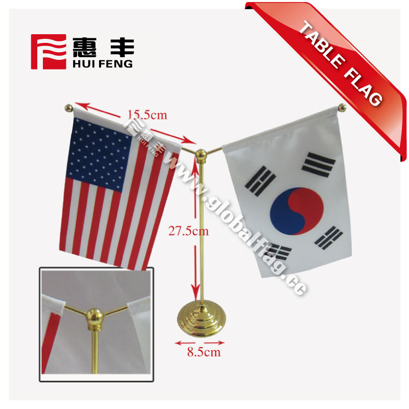 Two Flags Holder Table Flag With Stainless Steel Wooden Plastic Table Flag Stand