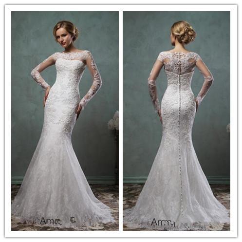 6cbee7e64aff robe de mariage newest romantic sexy long sleeve lace mermaid amelia sposa  wedding dresses 2016 wedding