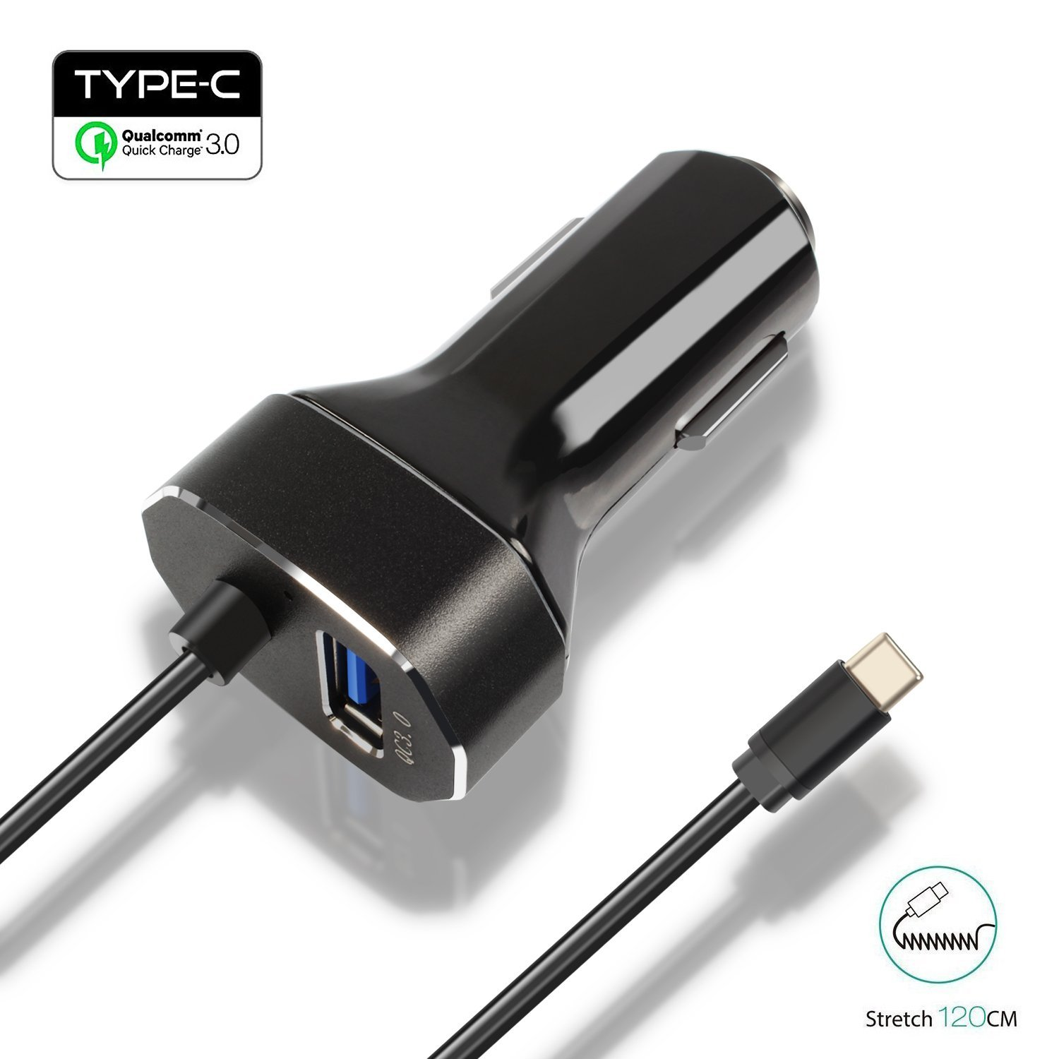 """30W 2 Ports USB Type C Car Charger,[USB QC 3.0 Port + Built-in Type-C USB C Adapter Charging Cable] for Samsung,Google Pixel XL,Nexus 5X 6P,MacBook 12"""" iPhone,Galaxy S7 S6/Note 5,HTC 10 - Black"""