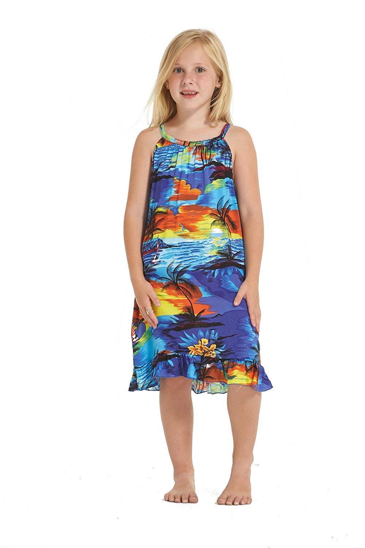6fa86645026b Get Quotations · Hawaii Hangover Girl Round Neck Tunic Hawaiian Luau Dress  In Blue Sunset