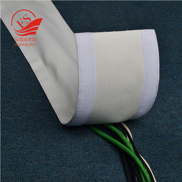 "High quality White Black PU strap + nylon hook loop 4"" Floor Carpet Cable Wrap Sleeve Wire Cord Hider Cover Organizer"