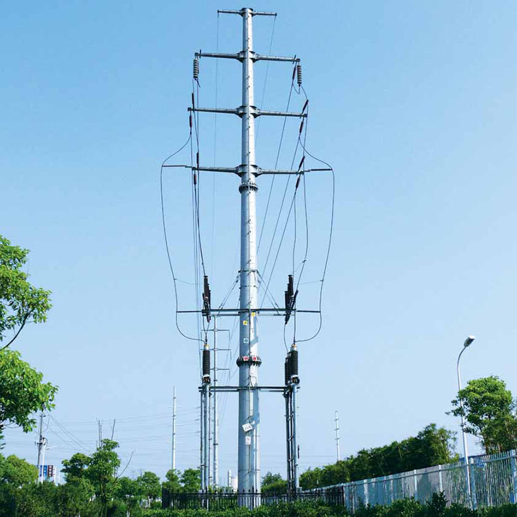 Factory direct sale hot dip galvanized electrical transmission tower steel tubular poles 132kV