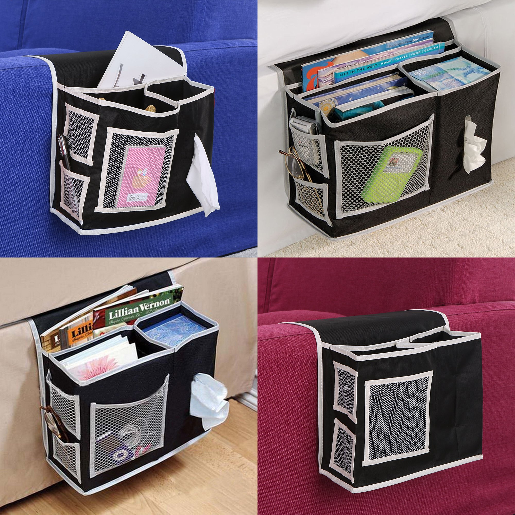 Get Quotations · 6 Pockets Bedside Caddy Hanging Storage Organizer Desk Storage Organizer Bag Bed Rail Headboard Cabinet Hanging & Cheap Bed Storage Caddy find Bed Storage Caddy deals on line at ...
