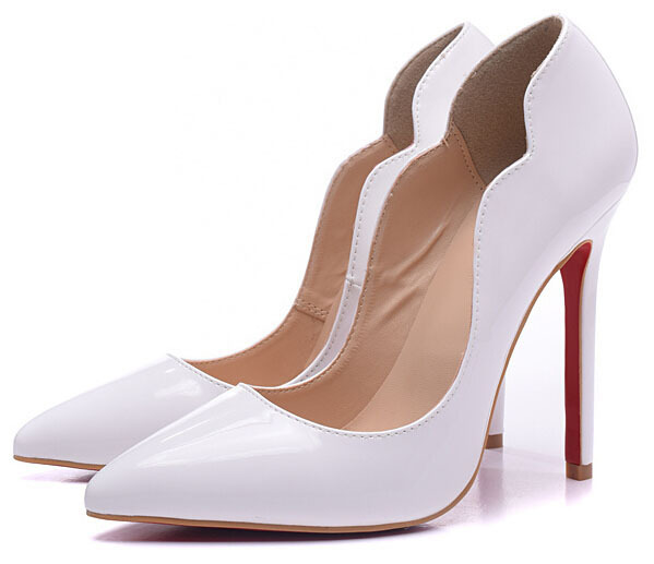 New designer fashion women high heels red bottom white leather pumps women