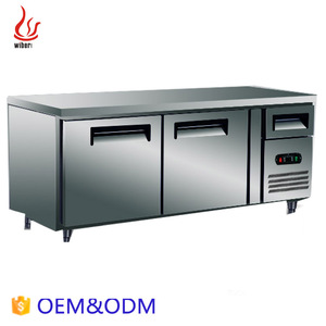 2 Door Vertical Stainless Steel Commercial Pizza Refrigerator/Pizza Work Table/salad Prep Table with cutting board KT1