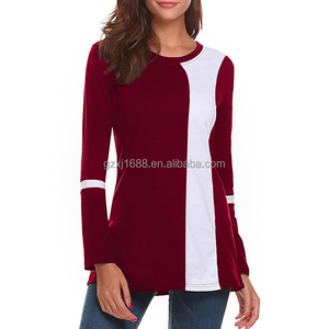 Casual slim basic t shirt using contrast color patchwork design women tops blouse
