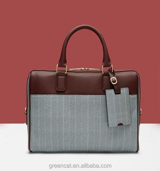 98f91663db Cotton herringbone polo genuine real leather for man handbag cross body  mens bag A100961