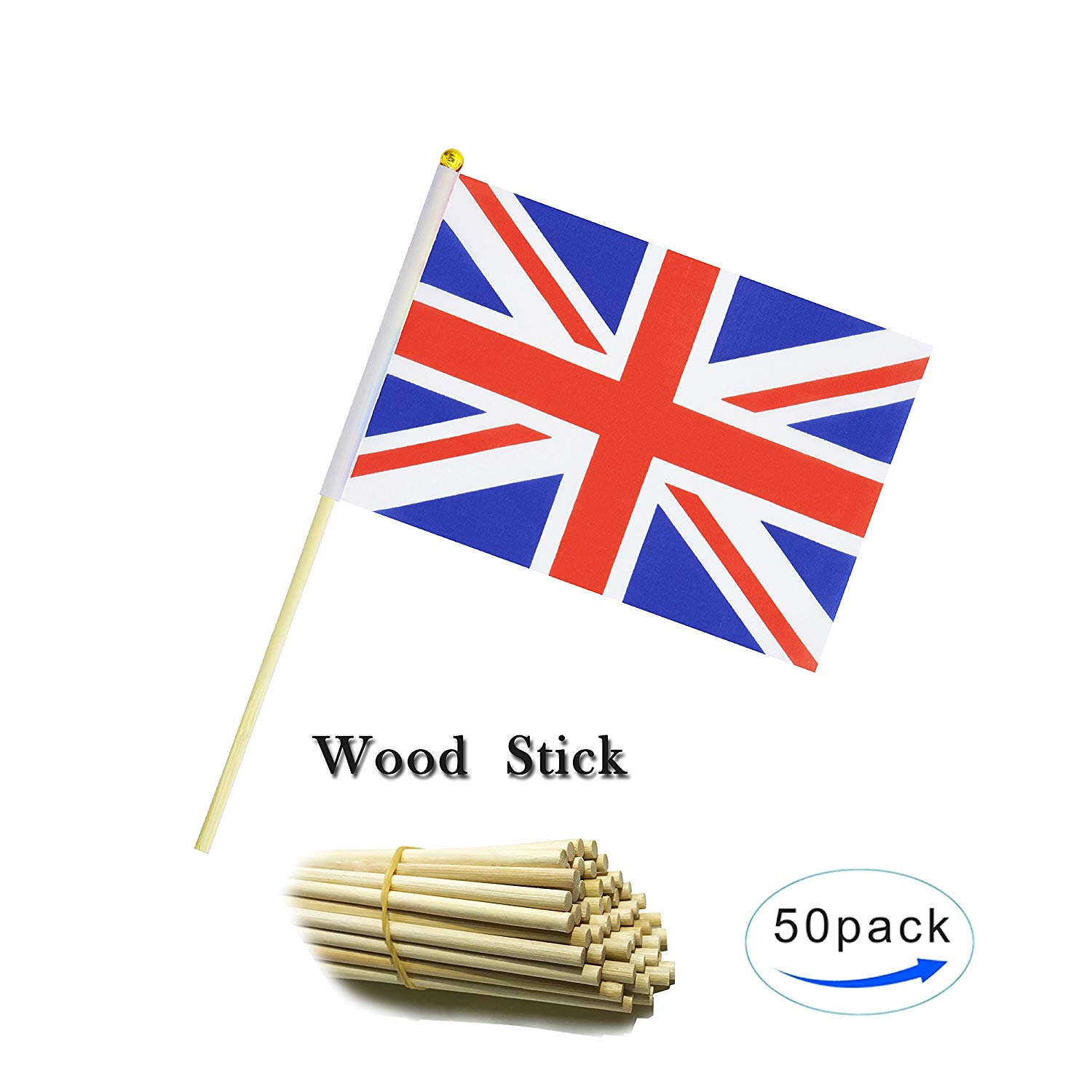 Wood Hand Held British Flag United Kingdom UK Stick Flag Small Mini Flag 50 Pack Round Top National Country Flags,Party Decorations Supplies For Parades,World Cup,Sports Events, Celebration