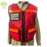 High quality red mesh range safety officer vest wholesale from China