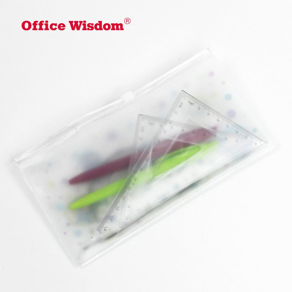 Прозрачный канцелярский мешок с застежкой-молнией матовый прозрачный ПВХ PEVA мешок карандаша по индивидуальному заказу размер пластиковый пенал