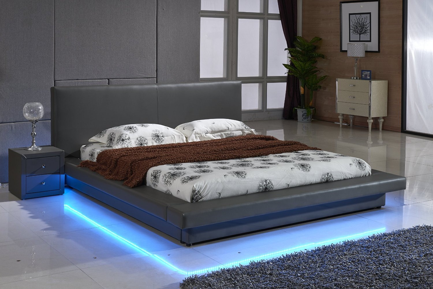 Container Furniture Direct Modern Faux Leather Upholstered Platform Bed with Headboard and LED Lighting, Gray, Queen Size