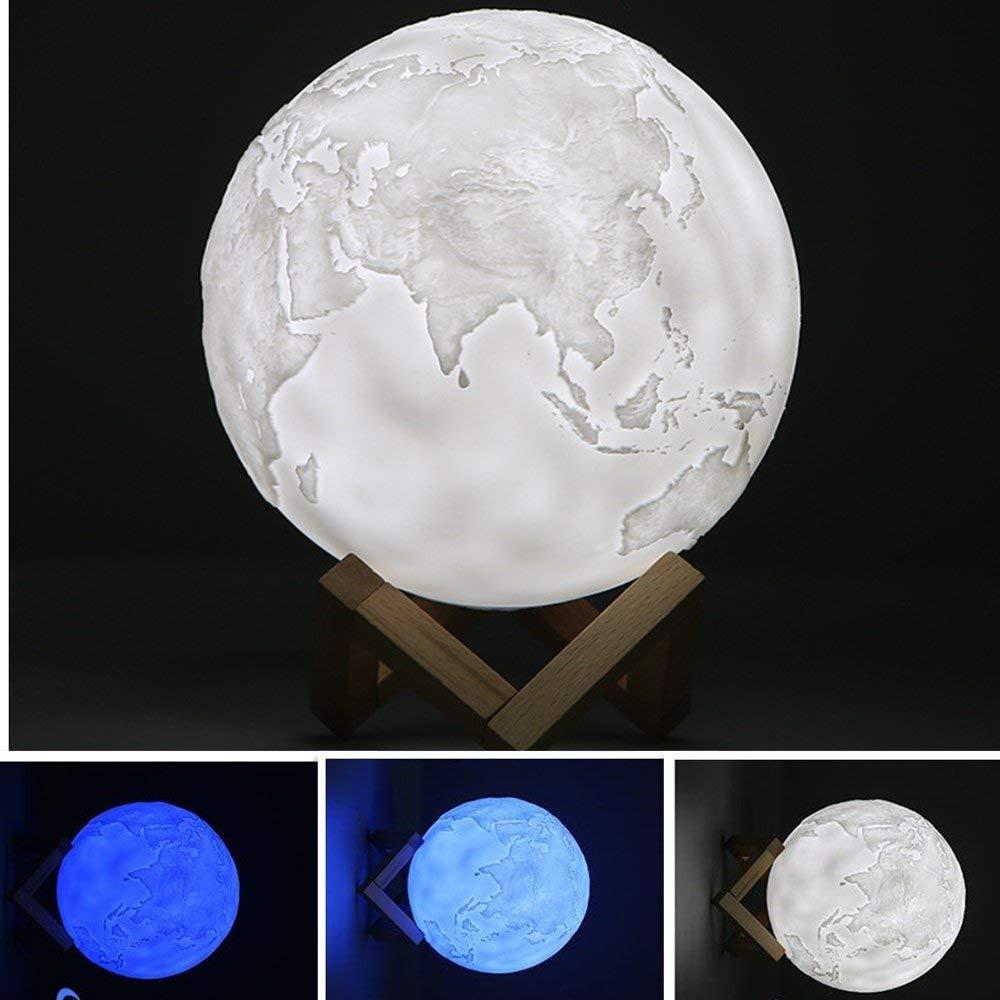 Ocamo Desk Lamp Simulation 3D Moon Night Light Earth Light, Rechargeable 3D Earth Light Night Lamp Decoration 15CM Three-color