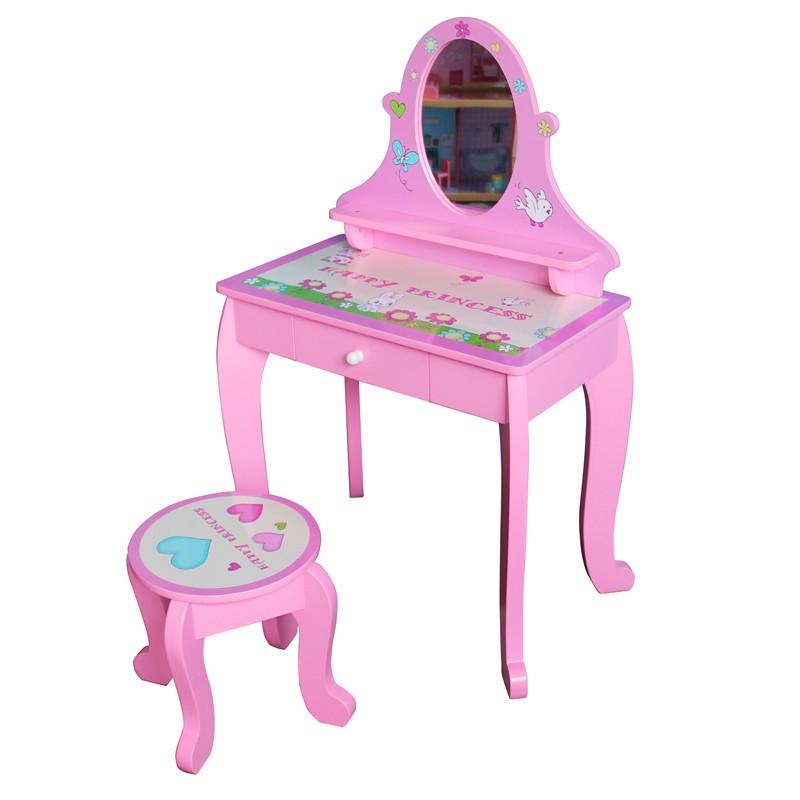 sch ne rosa holz m dchen schminktisch mit hocker in acryl spiegel einfache montage kinder m bel. Black Bedroom Furniture Sets. Home Design Ideas