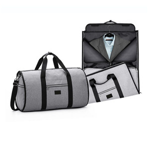 Custom 2 in 1 foldable leather mens suit garment duffel bag