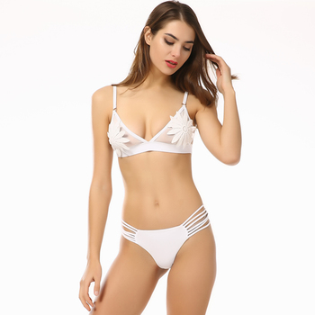 8246240451e Pretty girls korea white floral fancy swimsuit transparent lingerie bikini  style