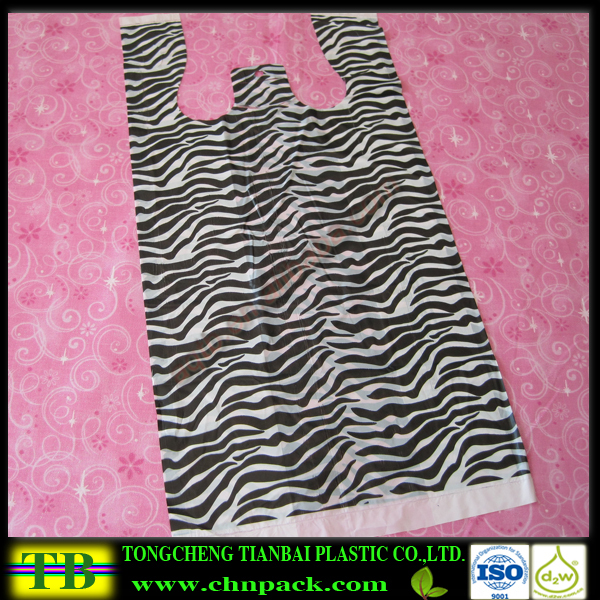Zebra Animal Print Plastic T Shirt Bags,tee shirt shopping bags with Zebra Animal Print