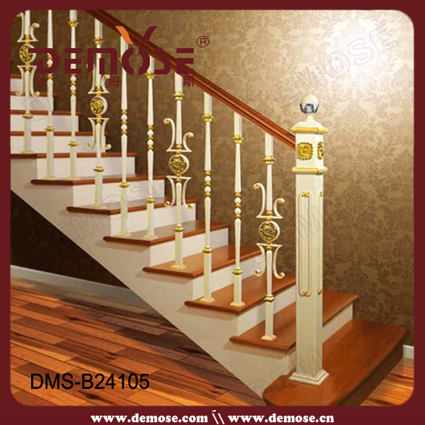 Decorative Carved Wrought Iron Stair Railing Goal Posts
