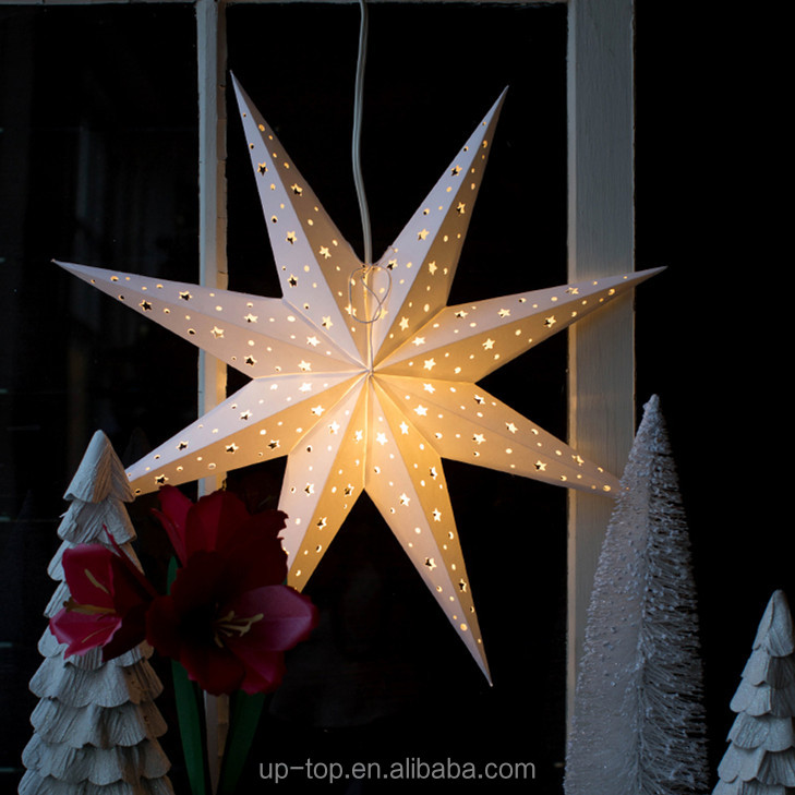 Christmas Paper Crafts and Projects White Paper Star Lantern Matt color LED light
