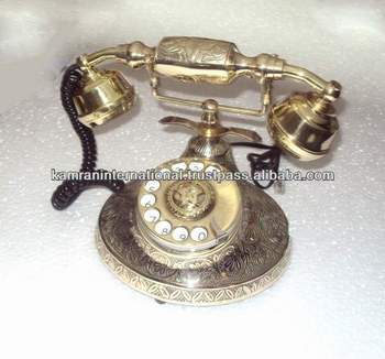 Antique Style Brass Telephone Wooden Old Telephone Corded