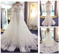 New 2016 Muslim Wedding Dresses With Long Sleeves White Crystal Sash Lace Appliques Bridal Dress with Removable Train