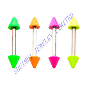 "Neon Color Painting Spike Top Silver 316L Surgical Steel Industrial Nipple Barbell Bars 18Gauge 3/8"" Piercing Body Jewelry"
