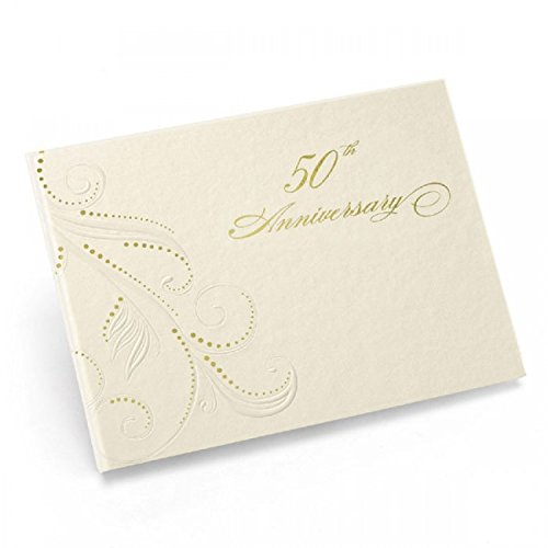 """50Th Anniv Swirl Dots Guest Book *** Product Description: Ivory, Spiral-Bound Guest Book With Pearl-Embossed Flourishes, Gold Foil Accents And """"50Th Anniversary"""" In Gold Foil. Records 600 Signatures. 7 1/2"""" X 5 3/4"""". ***"""
