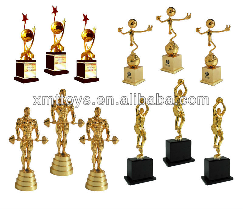 High-end middle size golden male trophy with wings made in China