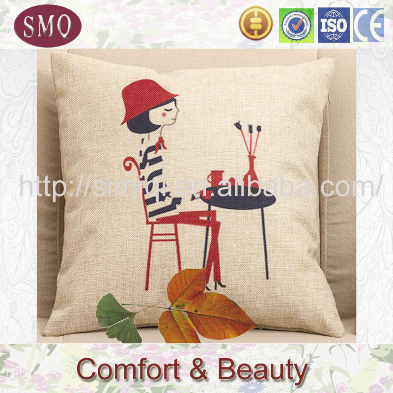 linen satin cushion cover water seat cushion for car with words