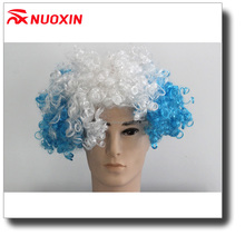 NX WIG fashion cheap colorful football fans wig blue white blue hairpiece