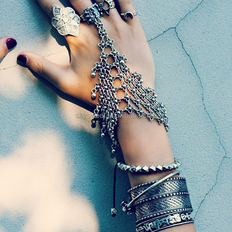 Vintage Silver Hollow Flower Beachy Chic Festival Turkish Slave Bracelet for Women Body Chains Jewelry Beach Foot Bracelets
