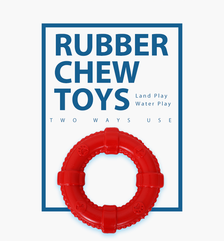 Red Barbell Soft Dog Rubber Chew Toy