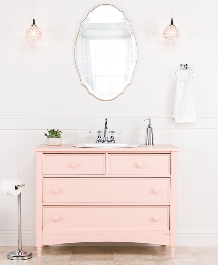 Hot Modern Pink Color Fashion Bathroom Vanity With Storage Cabinet Product On Alibaba