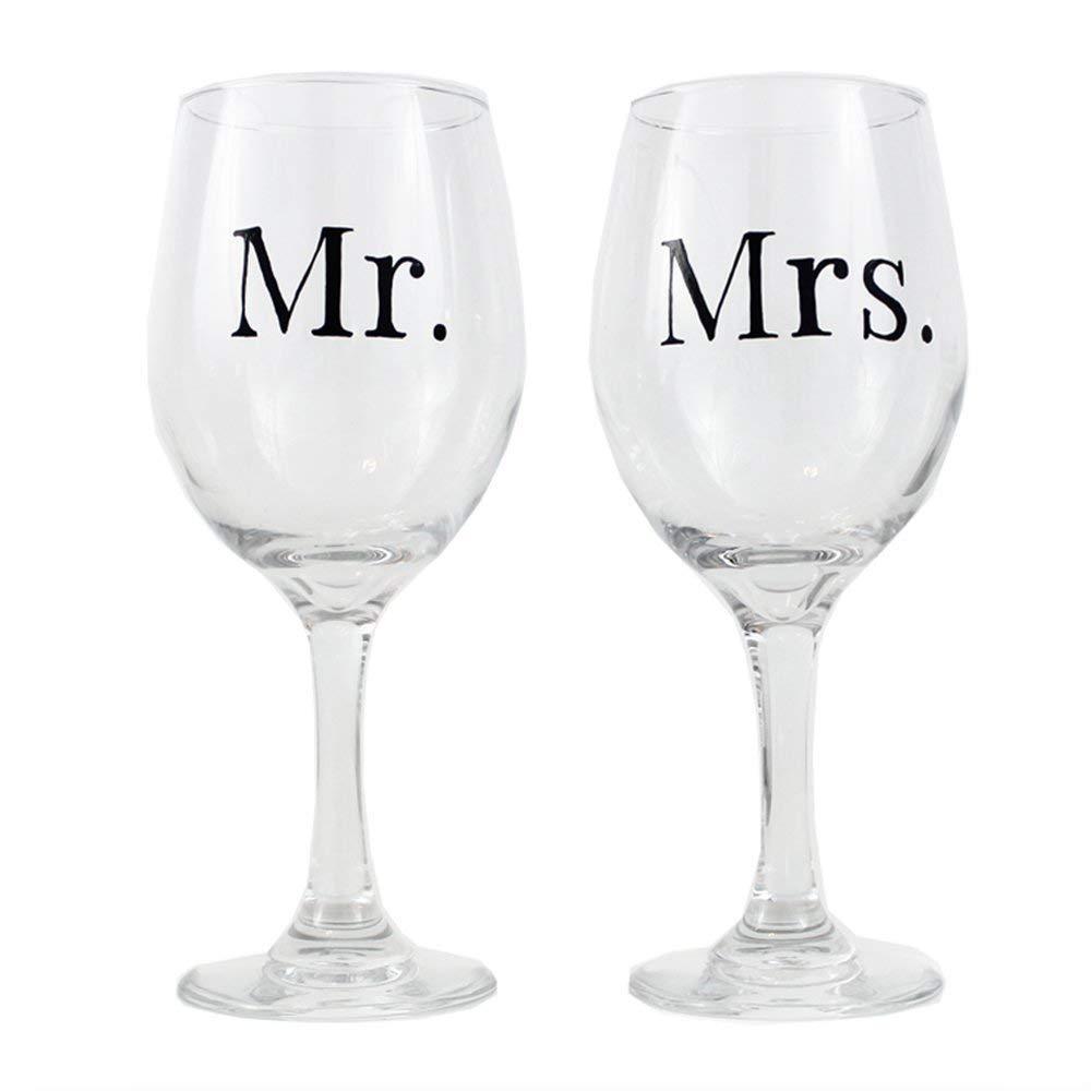 Wedding Wine Glasses, Mr. and Mrs. Wine Glasses, Custom, 20oz Wine Glasses, Set of 2, Hand Painted