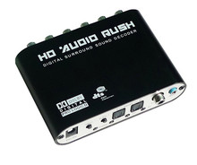 5.1 Audio Rush Digital Sound Decoder Converter Optical SPDIF Coaxial R/L Audio to 5.1CH Analog Audio 6RCA Output