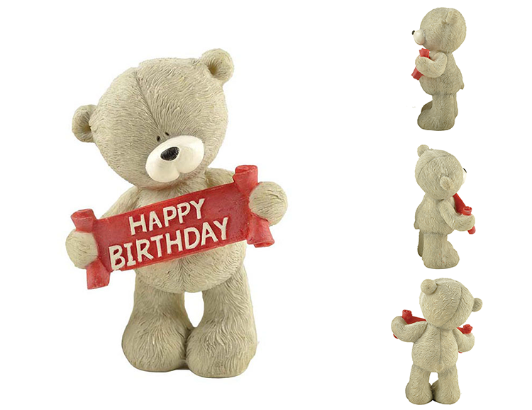 Polyresin bear standing figurine for kids birthday custom words
