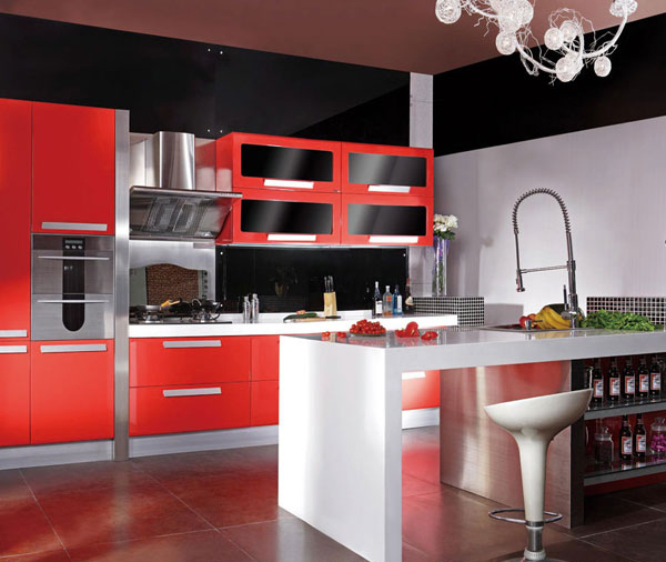 Red And Black Kitchen Design-in Kitchen Cabinets From Home
