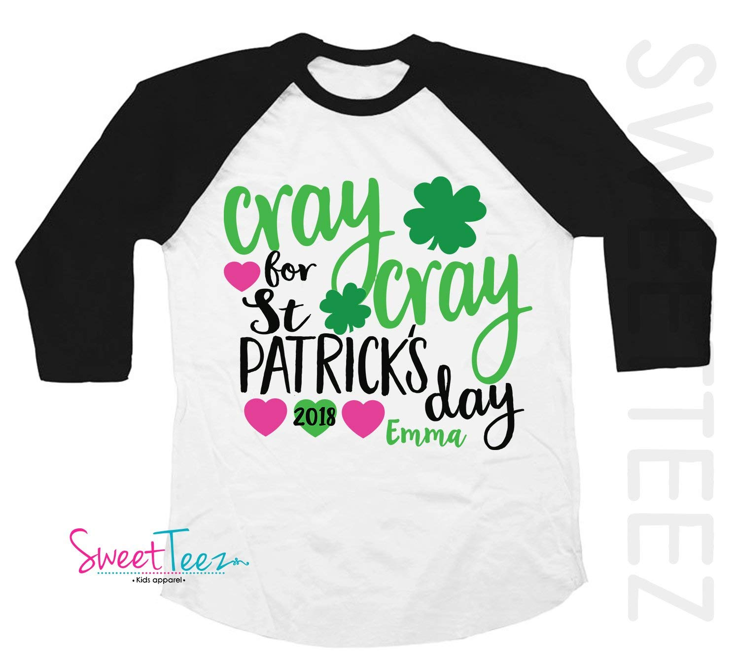 f6fb05472 Get Quotations · Personalized St Patrick's Day Shirt Funny Cray Cray Shamrock  Shirt for a Girl Gift