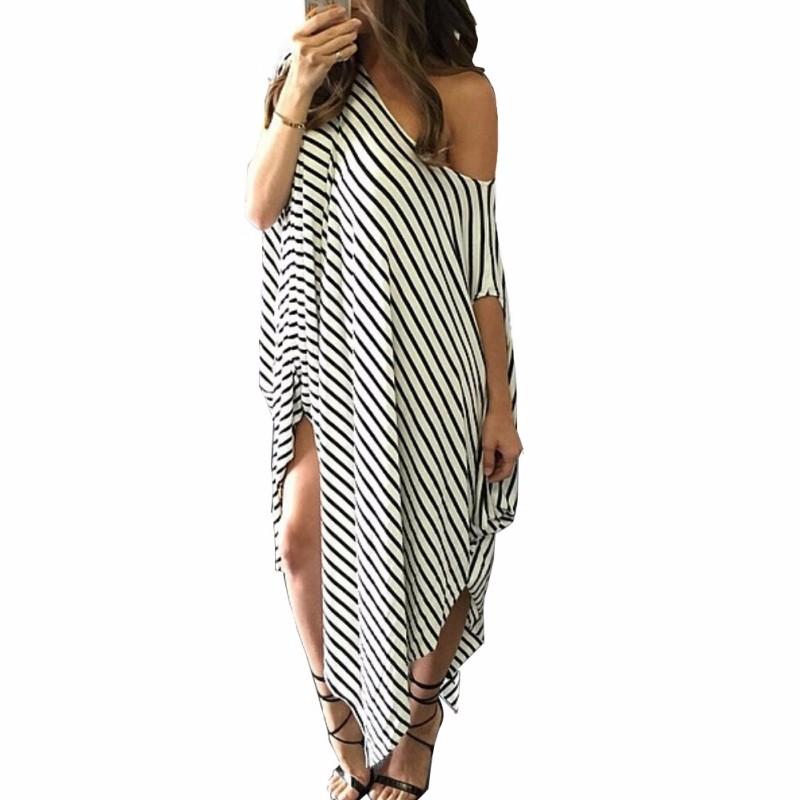 Women Loose Long Maxi Dress Striped Batwing Sleeve Off