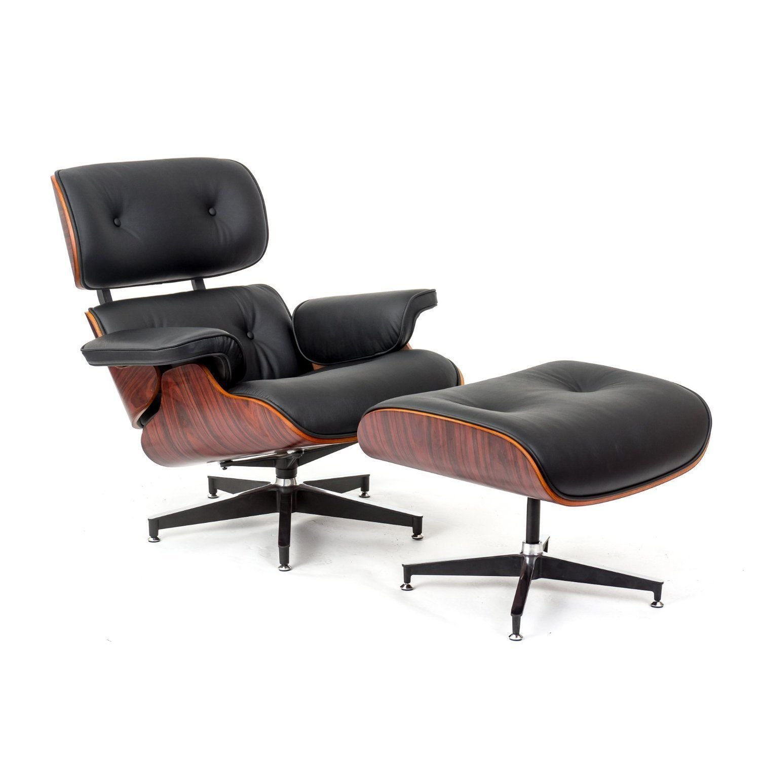 Get Quotations · Style Rosewood Lounge Chair And Ottoman Set In Black Top  Grain Leather
