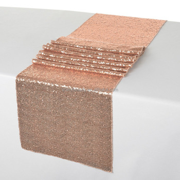 12x72 Inch Sequin Table Runner Rose Gold Sparkling Sequins