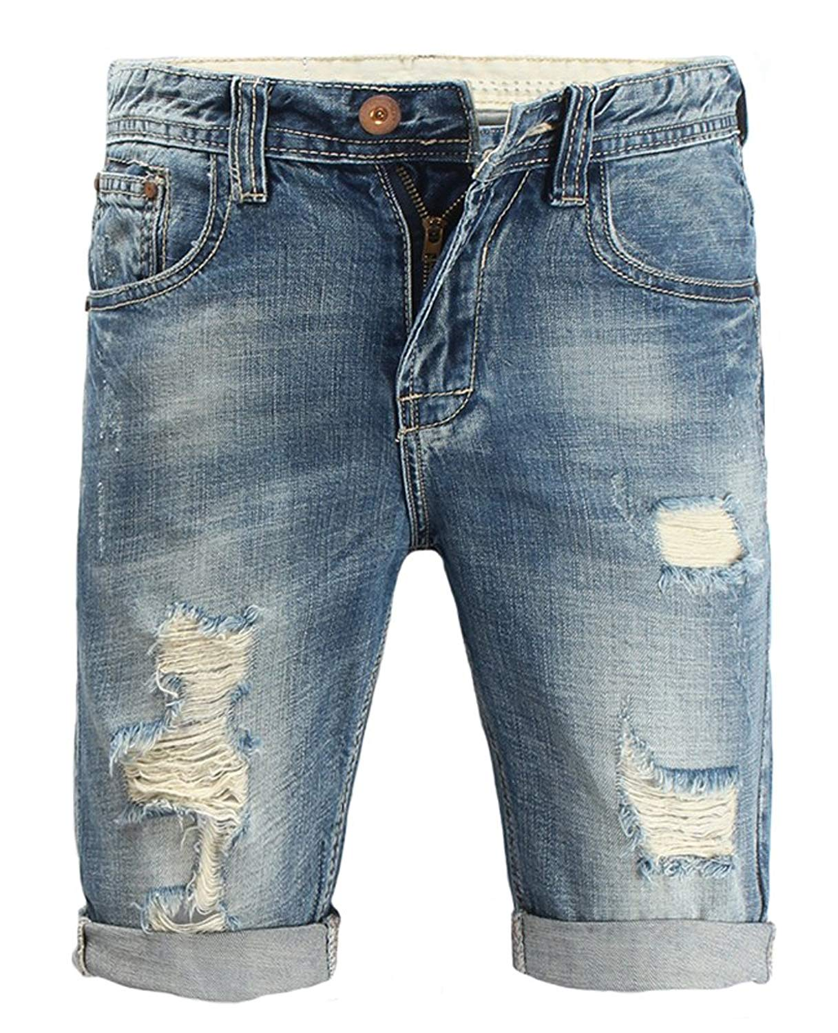 85b733a43e Get Quotations · Allonly Men's Fashion Casual Destroyed Ripped Slim Fit Denim  Shorts Jean Short With Broken Holes