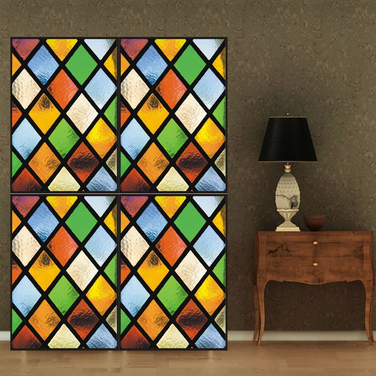 """OstepDecor Custom Translucent Non-Adhesive Frosted Stained Glass Window Films 24"""" W x 36"""" H"""
