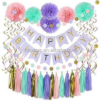 37 Piece Happy Birthday Banner Party Decorations Set In Pink Gold Purple