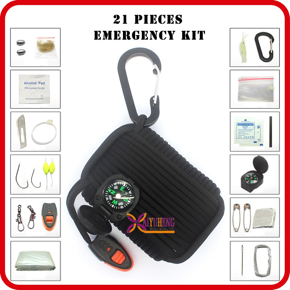 multi survivor kit camping gear with whistle for sale