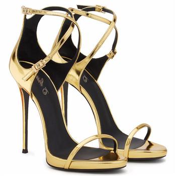 ffc44661190c Женские босоножки  обувь для фотосъемки  вечерние босоножки из лакированной  кожи золотистого цвета на высоком
