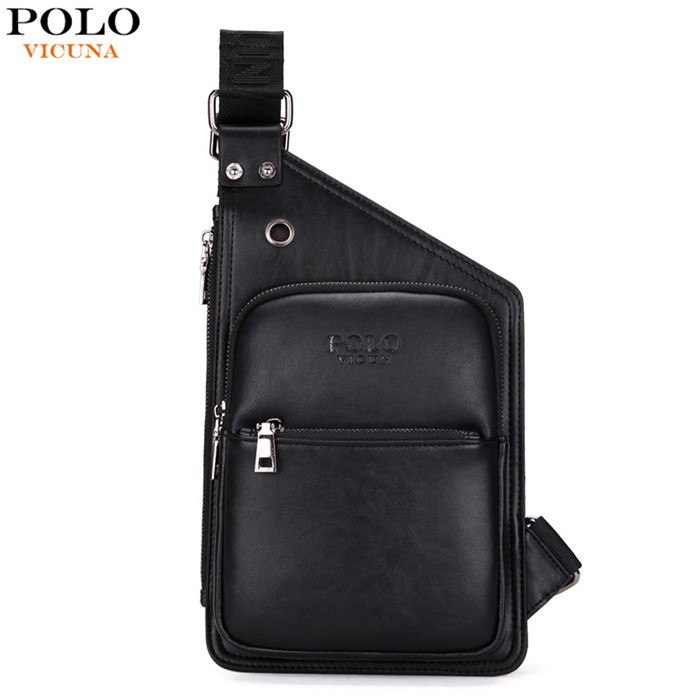 VICUNA POLO 2017 Hot Brand V9901 Wholesale Casual PU Leather Fashion Black Sport Men's Sling Bag Chest <strong>Shoulder</strong>