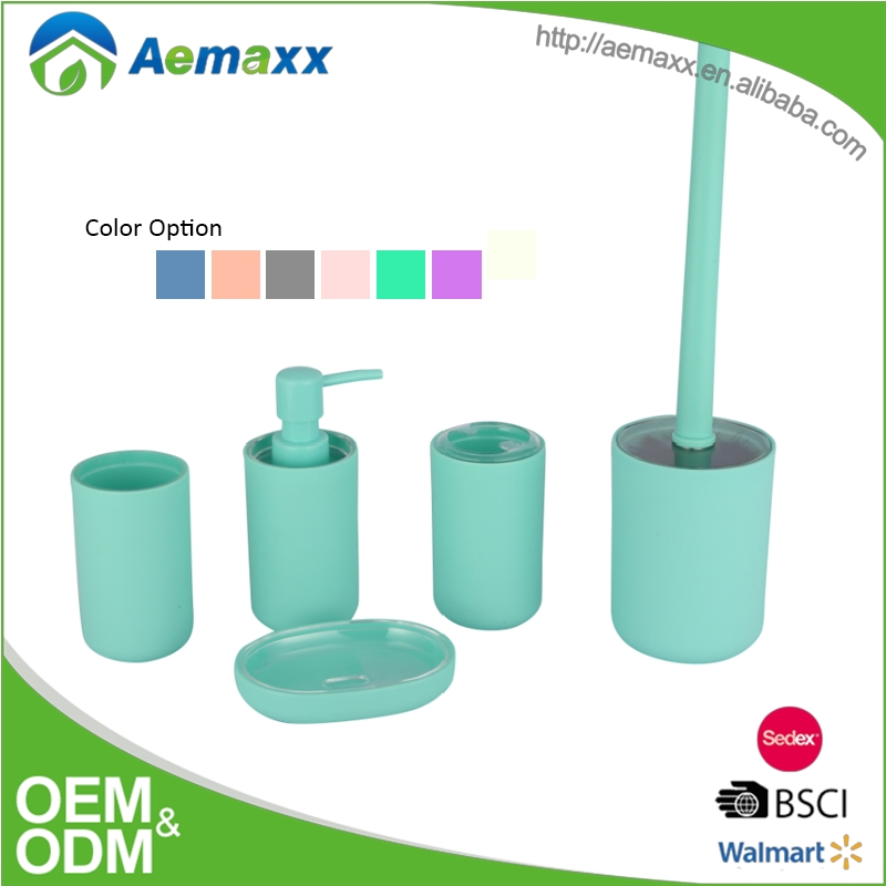 4pcs China cheap price simple design gift plastic green bathroom accessories